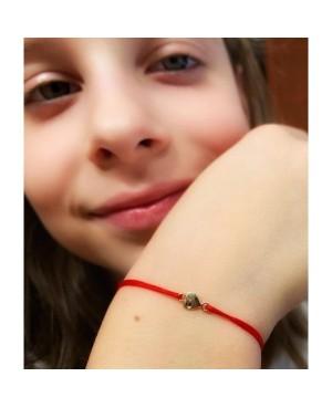 Bratara aur 14k bebelusi copii snur rosu Inimioara cu smarald Acasa