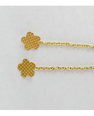 Cercei de aur 14K lungi cu lant mobil dama Floare 7mm Cercei de aur lungi cu lant