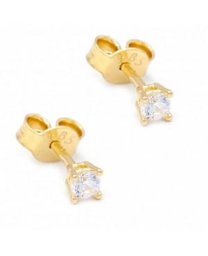 Cercei Din Aur Galben 14K Pietre mici 3mm Surub Cercei din aur dama