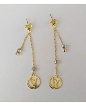 Cercei de aur lungi dama cu lantisor model Louis Vuitton Cercei de aur lungi cu lant