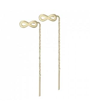 Cercei de aur 14K lungi cu lant mobil dama Infinit 9mm Cercei de aur lungi cu lant