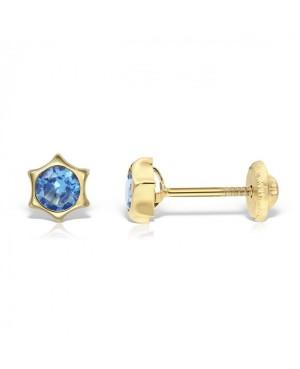 Cercei de aur 14k copii bebelusi Stelute 5mm cu piatra albastra Cercei din aur