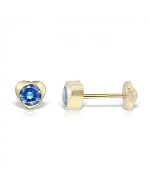 Cercei de aur 14k copii bebelusi Inimioare 5mm cu piatra albastra Cercei din aur