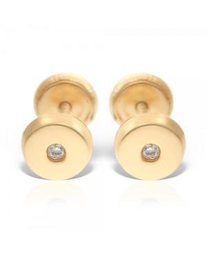 Cercei din aur 14k nou nascuti copii rotunzi 3,5 mm cu pietricica Cercei din aur