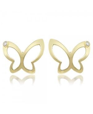 Cercei de aur galben 14K copii fete Fluturasi mari cu diamant Cercei din aur