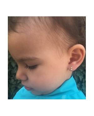 Cercei aur alb 14K cu surub nou nascuti bebelusi Bobite duble Cercei din aur