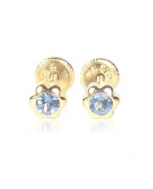 Cercei din aur galben pentru bebelusi Floricele 4mm cu piatra albastra Cercei din aur