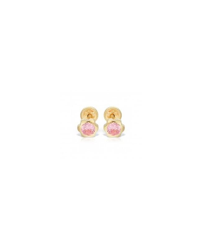 Cercei de aur 14k nou nascuti bebelusi floricele 4mm cu piatra roz Cercei din aur