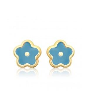 Cercei de aur 14K cu surub copii bebelusi Flori albastre email Cercei din aur
