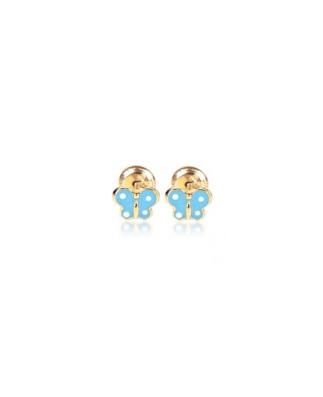 Cercei din aur galben 9k mici nou nascuti bebelusi Fluturasi albastri email Cercei din aur
