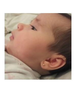 Cercei de aur galben mici nou nascuti bebelusi Bilute cu pietricica Cercei din aur
