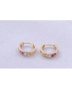 Cercei de aur rotunzi nou nascuti si bebelusi tortite roz inchis 7mm Cercei din aur