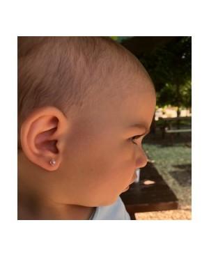 Cercei din aur galben mici cu surub bebelusi copii Flori roz cu perla Cercei din aur