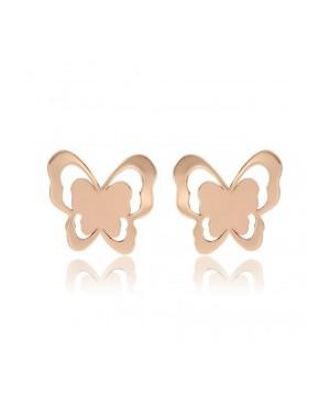 Cercei din aur roz 14K copii si bebelusi cu surub Fluturasi Cercei din aur