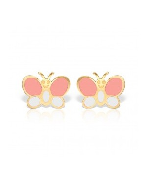 Cercei de aur galben copii fetite Fluturasi roz alb Cercei din aur