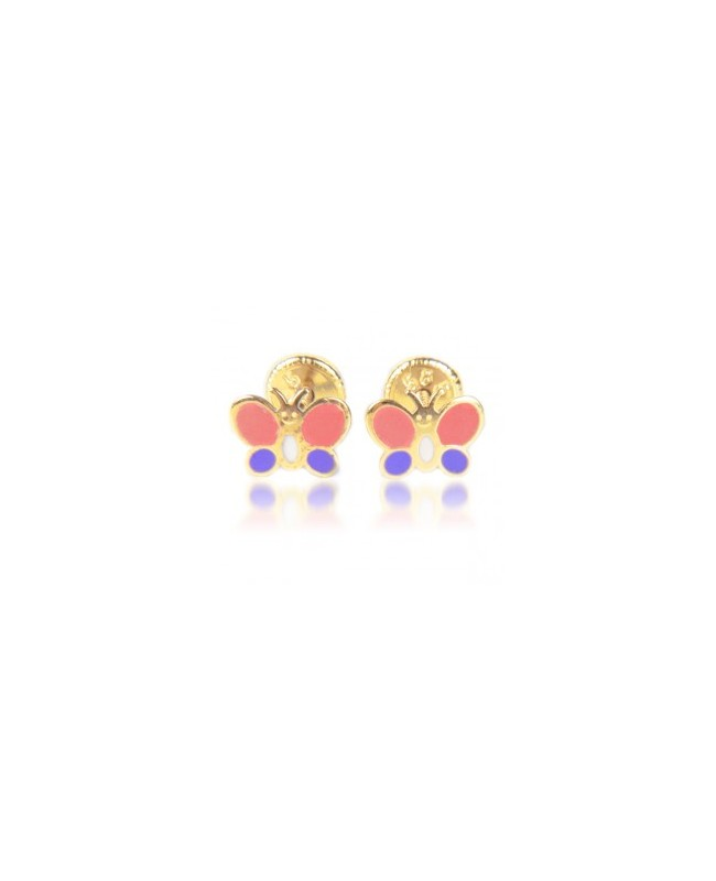 Cercei de aur galben cu surub copii bebelusi Fluturasi roz mov Cercei din aur