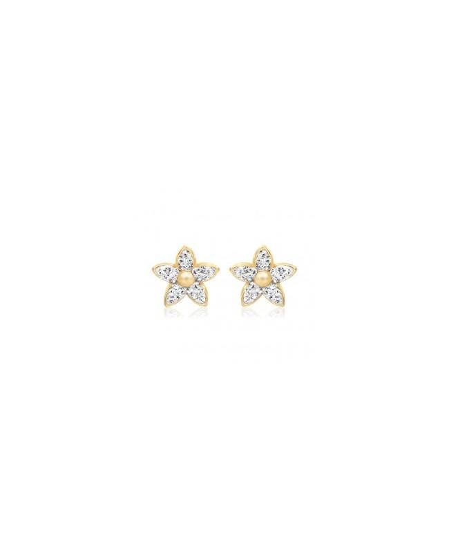 Cercei din aur galben 9K surub fetite copii Stelute cu pietre albe Cercei din aur