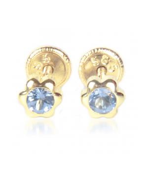 Cercei de aur bebelusi Floricele 5mm cu piatra albastra Cercei din aur