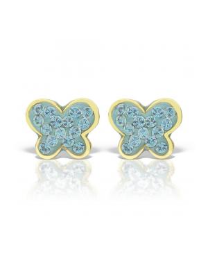 Cercei de aur 14K mici bebelusi nou nascuti Fluturasi pietre mici albastre Cercei din aur