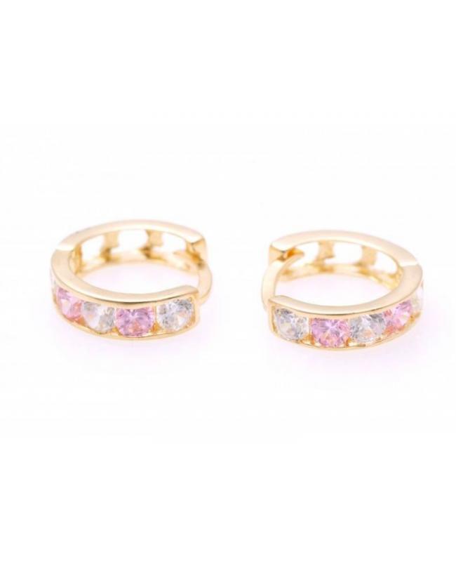 Cercei aur 14K nou nascuti bebelusi rotunzi tortite cu pietre roz deschis 7 mm Cercei din aur