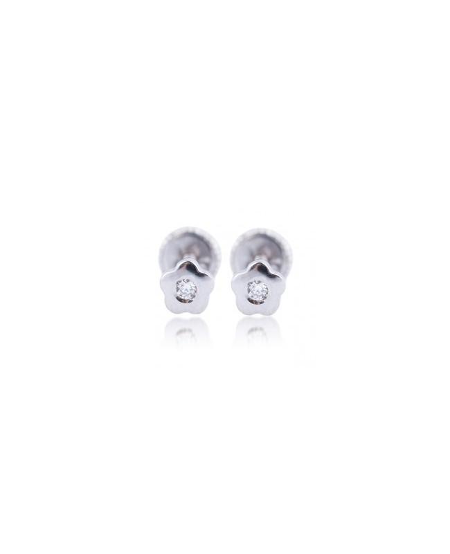 Cercei de aur alb bebelusi nou nascuti mici Floricele cu diamant mare Cercei din aur