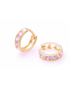 Cercei de aur 14K rotunzi bebelusi copii tortite pietre roz deschis 9 mm Cercei din aur