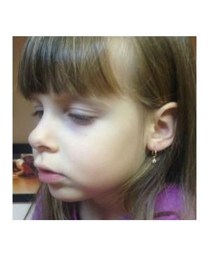 Cercei de aur alb 14K nou nascuti bebelusi Tortite cu piatra roz detasabila 9 mm Cercei din aur