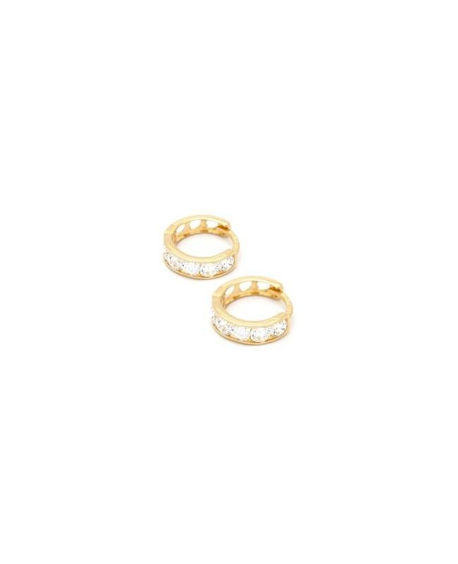 Cercei de aur 14K rotunzi copii nou nascuti tortite pietre albe 8 mm Cercei din aur