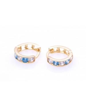 Cercei aur nou nascuti bebelusi tortite pietre blue/topaz 7mm Cercei din aur