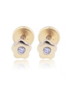 Cercei din aur 14k bebelusi nou nascuti Floricele cu diamant 4mm Cercei din aur