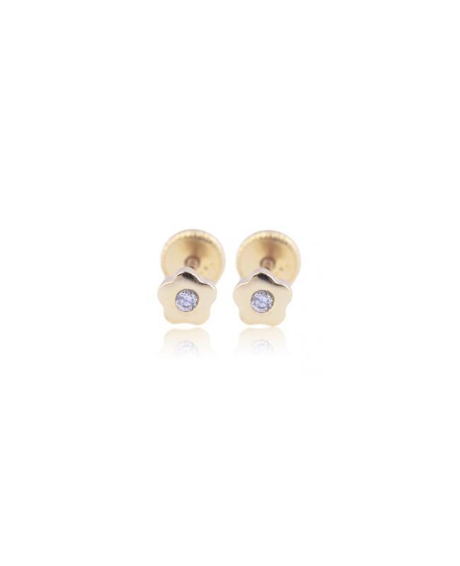 Cercei din aur galben bebelusi nou nascuti Floricele cu diamant 4mm Cercei din aur