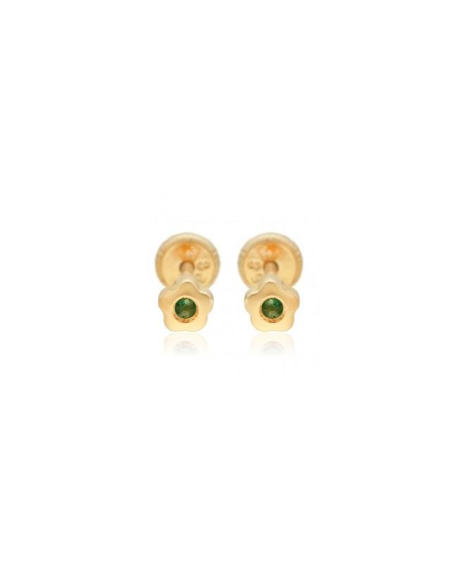 Cercei de aur bebelusi nou nascuti Floricele cu smarald 4mm Cercei din aur