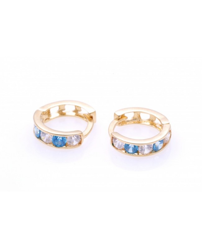 Cercei aur copii cu tortite pietre blue/topaz 10mm Cercei din aur