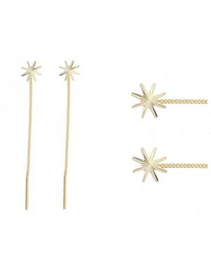Cercei lungi aur dama ieftini STELUTE 8 mm cu lantisor mobil Cercei aur lungi