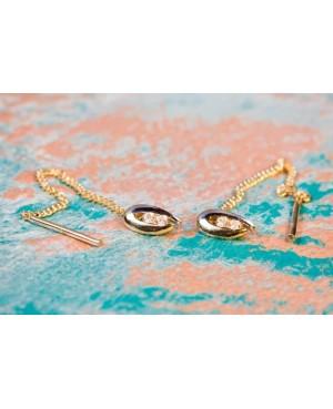 Cercei de aur 14K dama lungi cu lantisor mobil OVAL pietre Zirconiu Cercei aur lungi