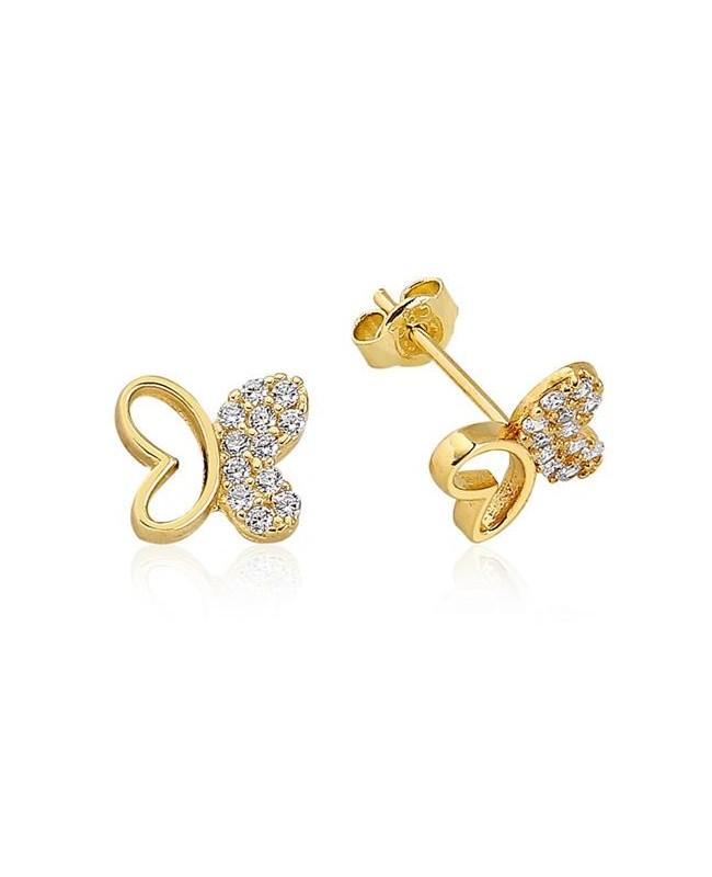 Cercei de aur galben dama cu surub model Fluturasi jumatate pietre Cercei din aur dama