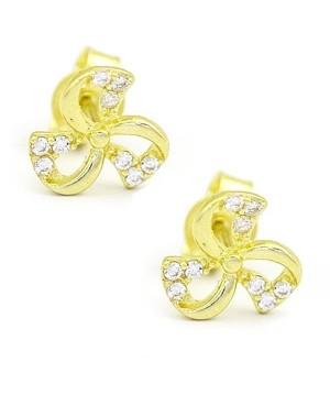 Cercei de aur galben 14k dama Floricele cu zirconii albe Cercei din aur dama
