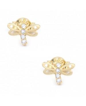 Cercei aur galben 14K dama cu surub model Libelule cu zirconii albe Cercei din aur dama
