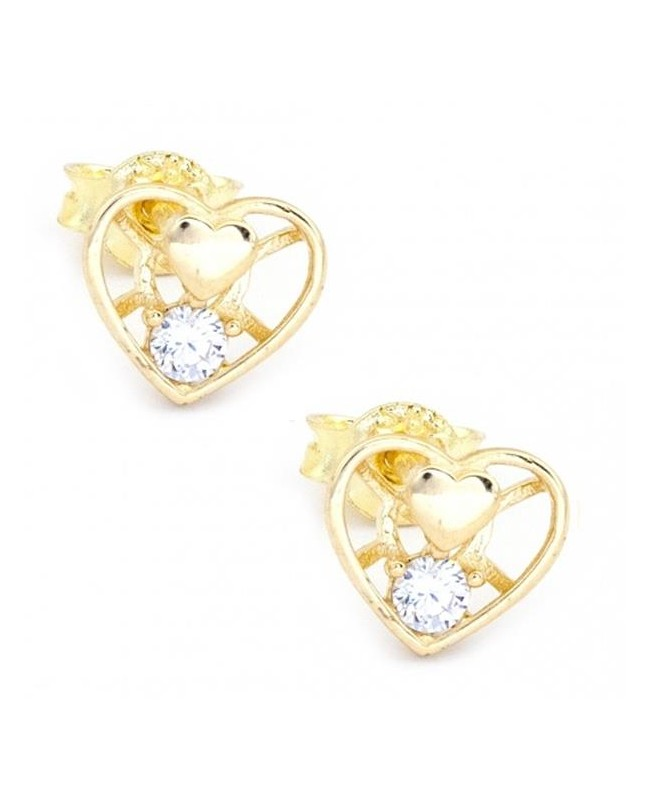 Cercei de aur cu surub 14K dama model Inima cu zirconii albe Cercei din aur dama