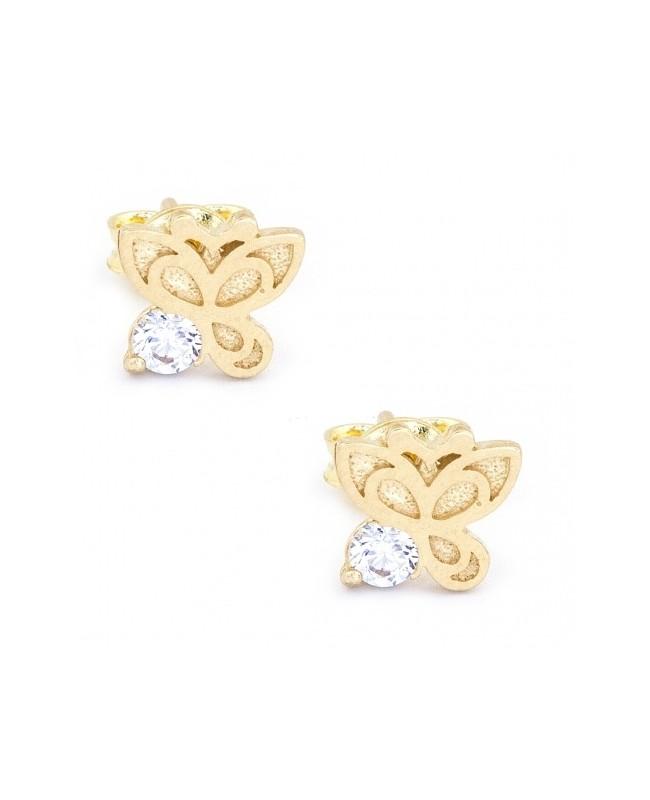 Cercei aur galben 14K dama cu surub model Fluturas cu zirconii albe Cercei din aur dama