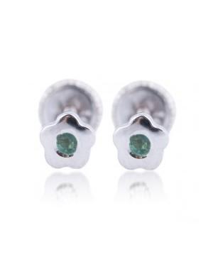 Cercei din aur alb bebelusi nou nascuti Floricele cu smarald 4mm Cercei din aur