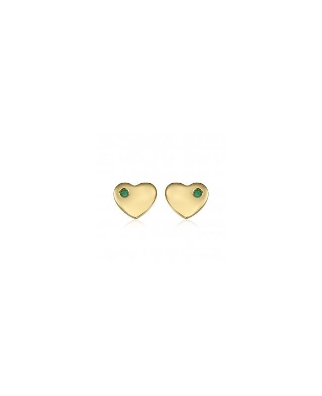 Cercei de aur 14K Inimioare cu Smarald bebelusi copii surub Cercei din aur