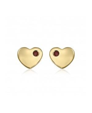 Cercei de aur 14K Inimi cu rubin surub bebelusi copii Cercei din aur