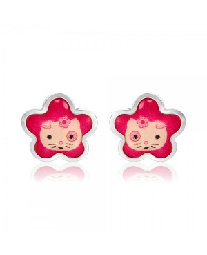 Cercei din aur alb 14k bebelusi copii Pisicute roz email Cercei din aur